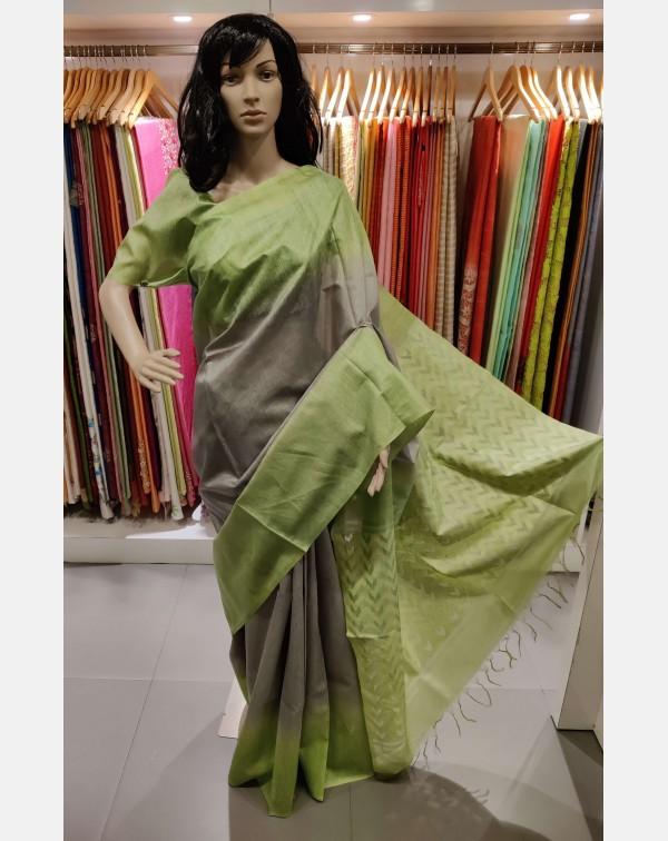 Green and Grey matka Tussar silk saree