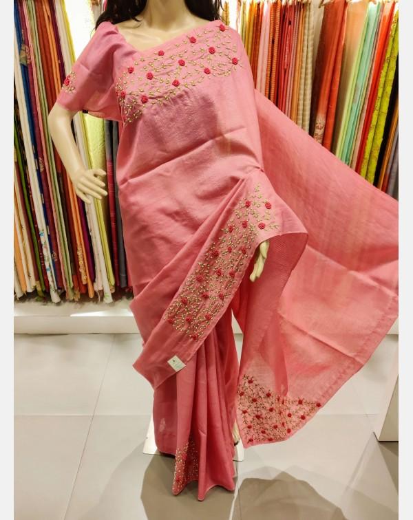 Handworked pink Tussar silk saree.