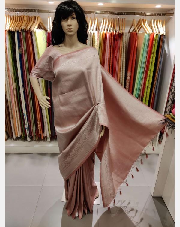 Pastel pink Brocade silk saree