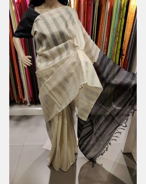 Self stripped off-white Tussar silk saree