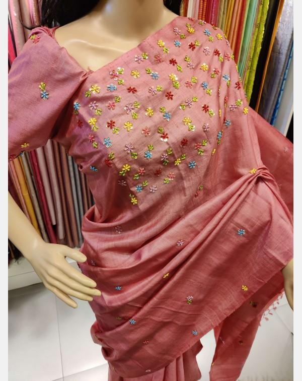 Peach party wear tussar silk saree