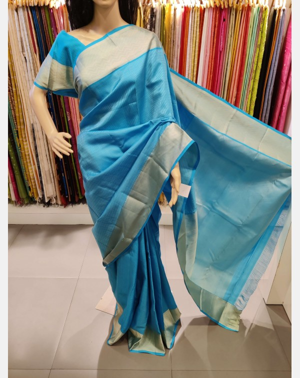 Dark sky blue kanchipuram saree with thread weavin...
