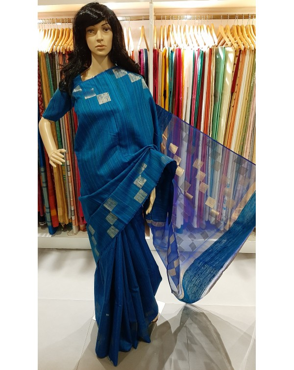 Blue jute silk saree with Jerry box design